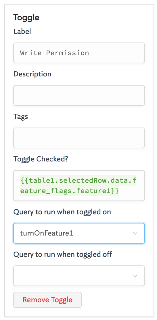 Now, `turnOnFeature1` will be triggered whenever the toggle is turned on.