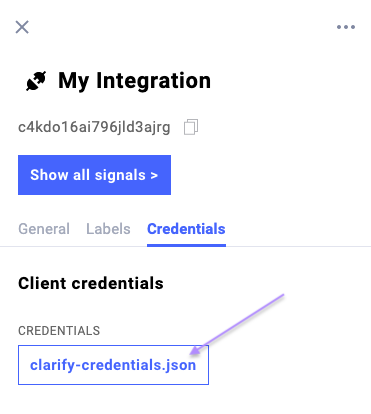 How to download client credentials