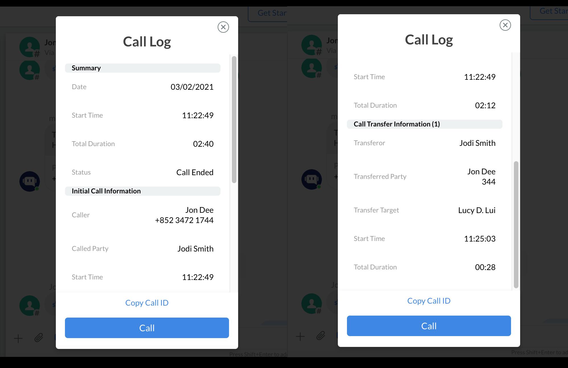 Call Log of a Call Transfer