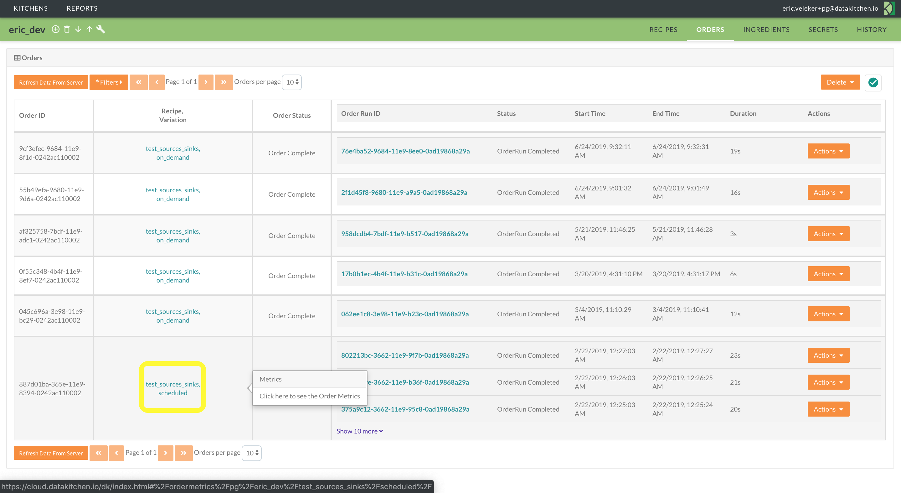 Access a longitudinal view of metadata across order runs from the Orders page.