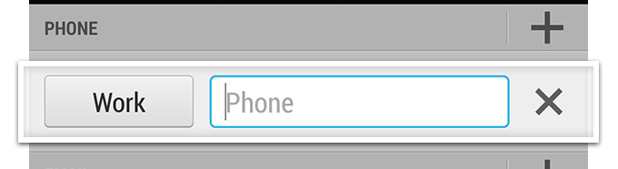 Add a name and then tap in the `Phone` field