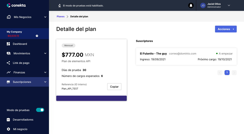 Vista de la subscripción creada asociada a un plan, para el customer ID mostrado anteriormente.