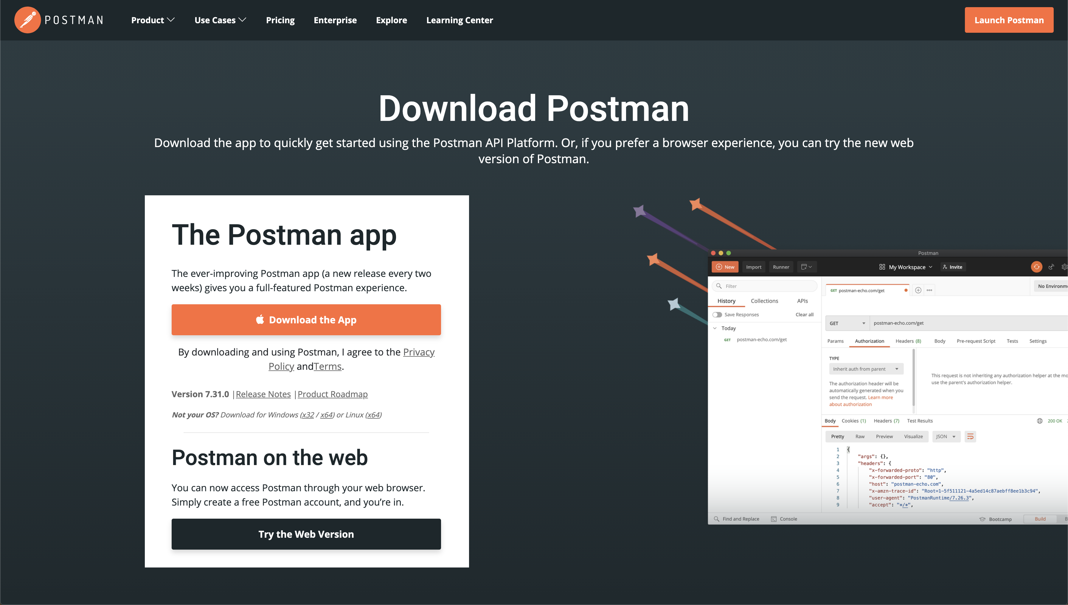 Postman's download page