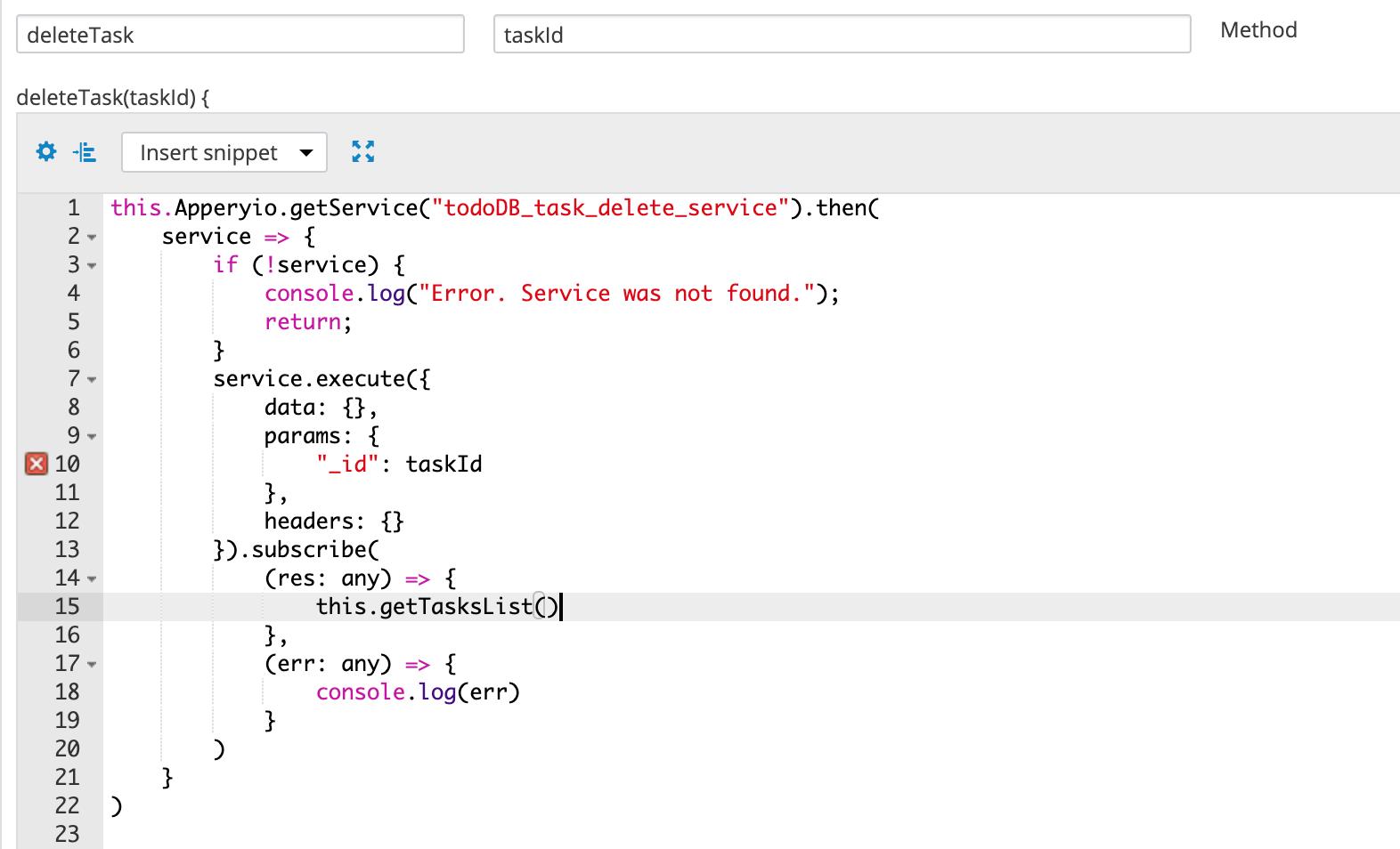 deleteTask code