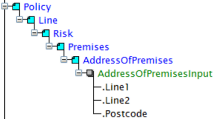 Example fields from the address input that is captured on the policy