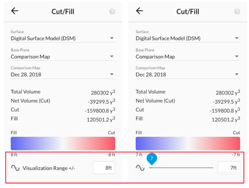 Cut Fill Elevation Comparison