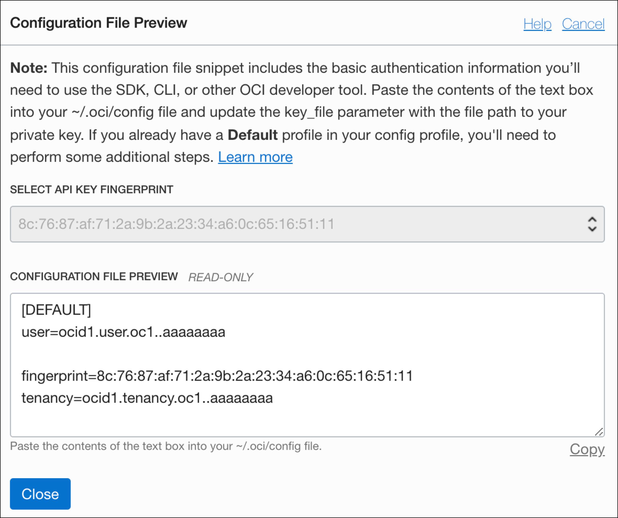 Oracle Console - Sample API Key