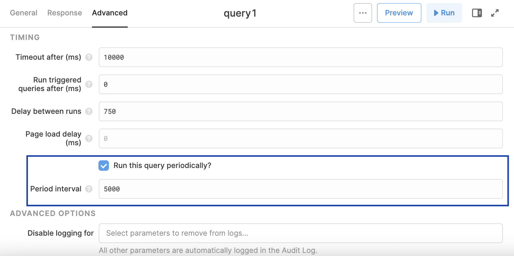 Example of a query refreshing every 5 seconds (5000 milliseconds)