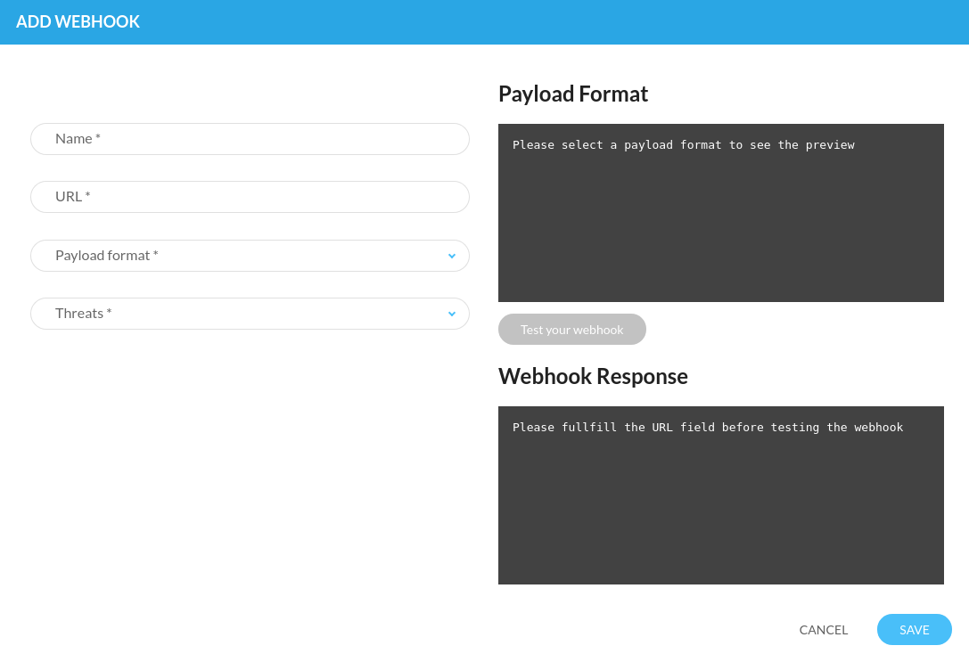 Define and test your webhook settings