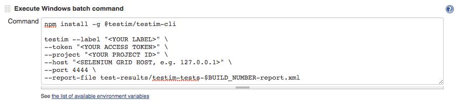 Jenkins Execute Windows Batch Command