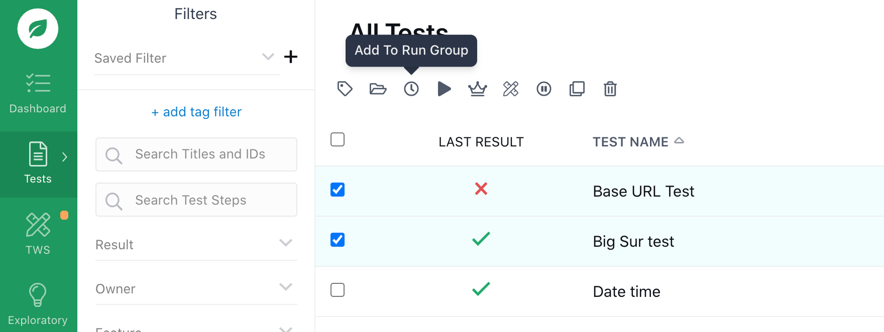 Adding tests to a run group.