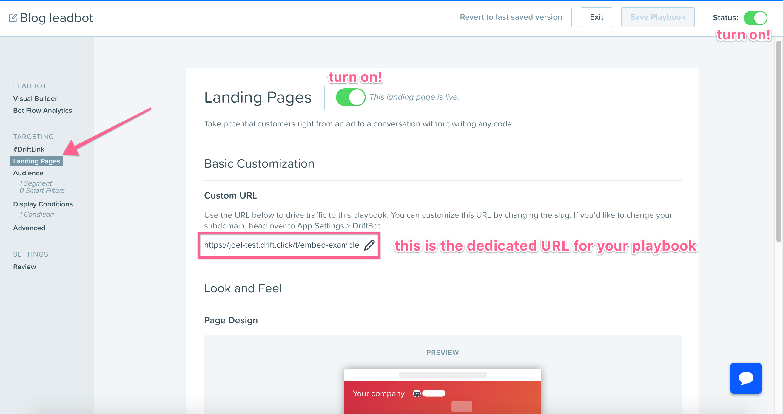 Embed Drift's Landing Pages