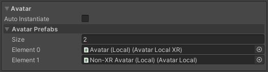 Avatar settings displaying manual avatar prefab selection array