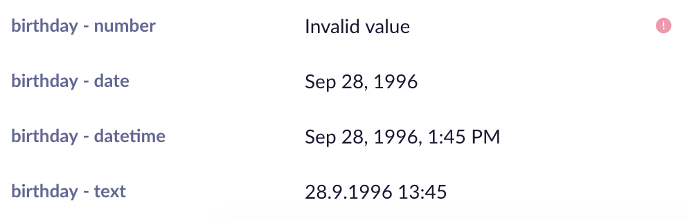 "Value ""28.9.1996 13:45"" imported under different data types and shown in a customer profile."