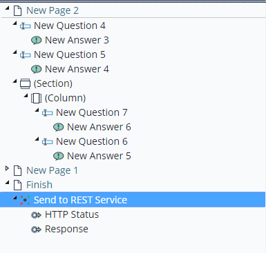 Example action outputs for Send to REST service, which are the HTTP Status and Response.