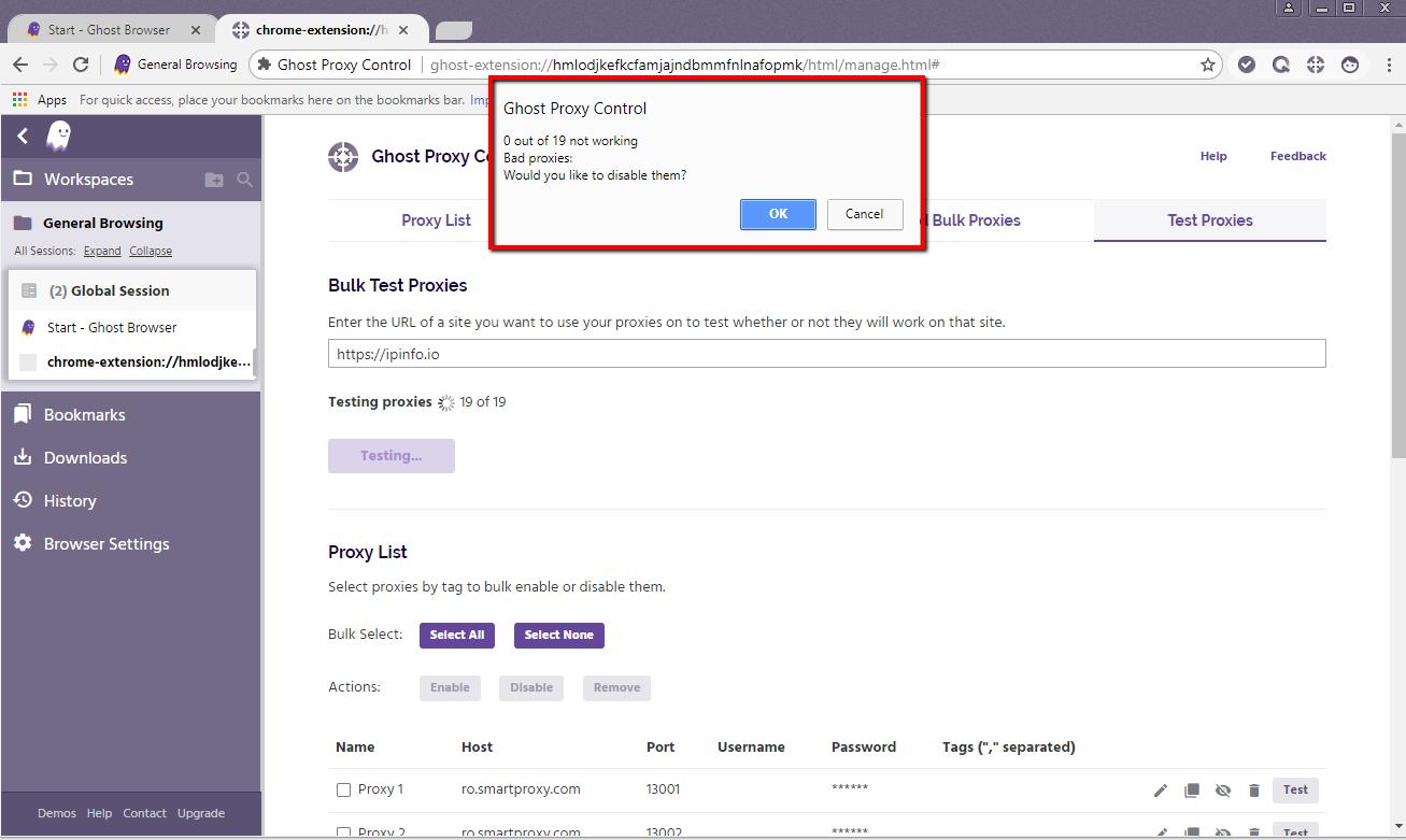 Ghost Browser proxy control error