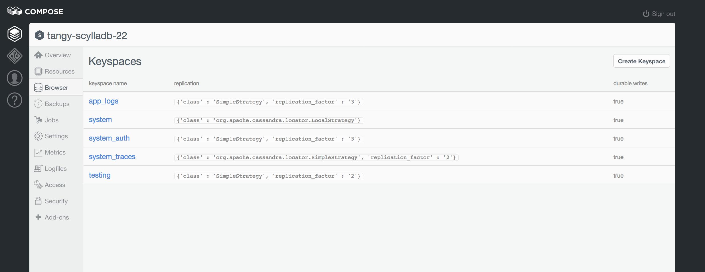 Keyspaces list in the browser.