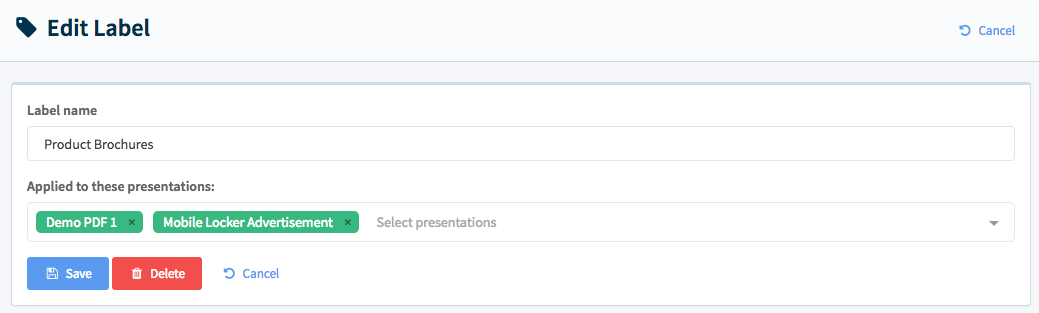 Edit a label's name or the presentations it is applied to.  You can also delete the label.