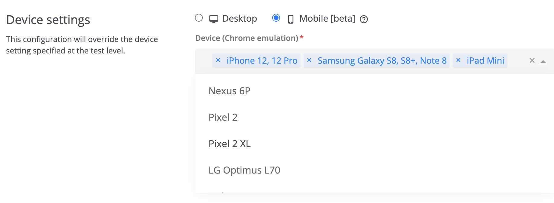 Selecting mobile devices to emulate when running tests in Chrome.