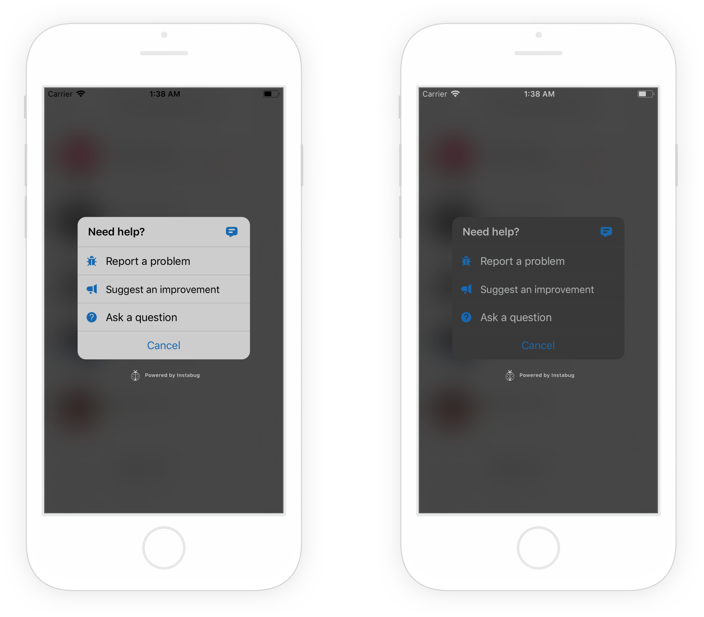 Examples of Instabug in light mode (left) and dark mode (right).