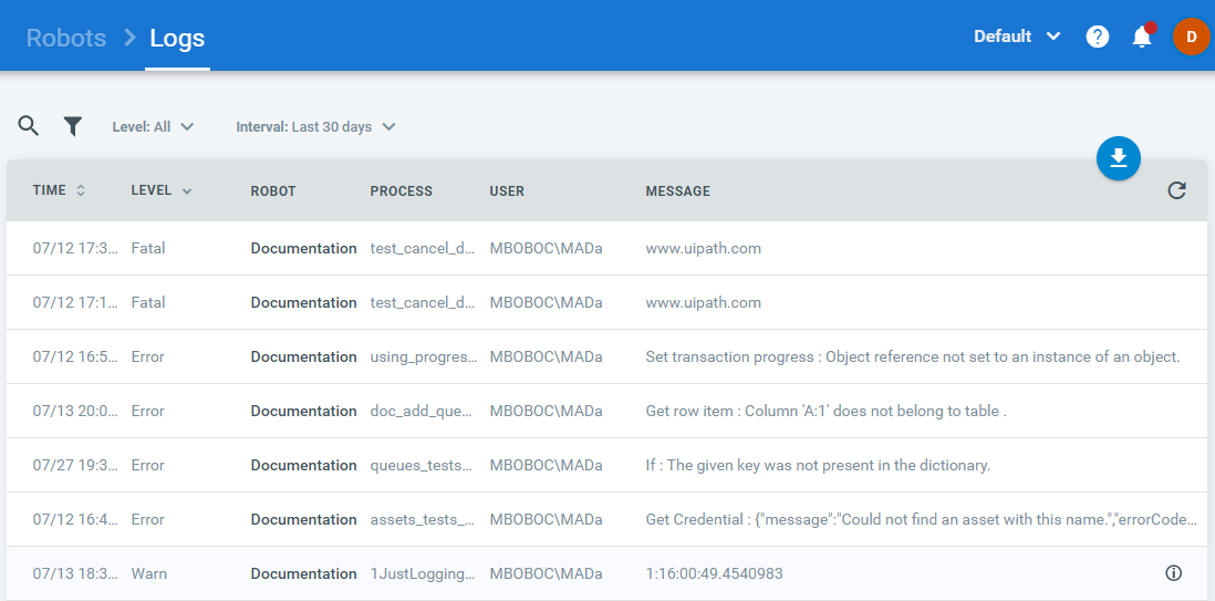 Managing Logs in Orchestrator