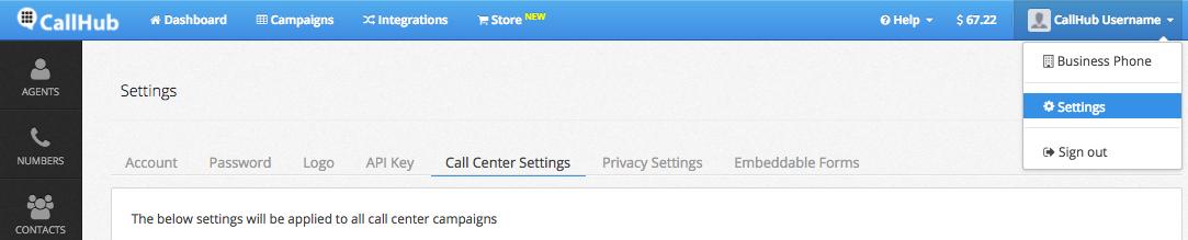 CallHub account settings