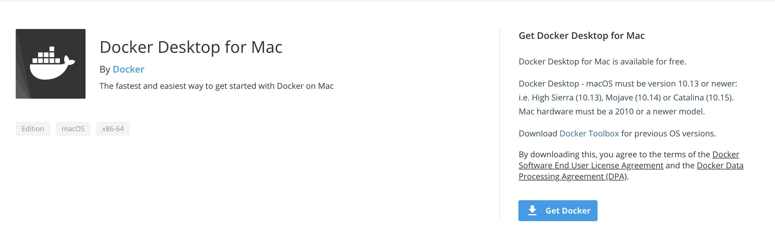 """Docker for Mac"" download page. Click Get Docker to download and get started."