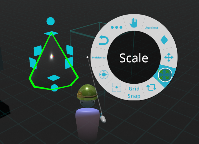 The 'Select Pointer' tool be used with a screen player on Gamepad to select Entities then scale / edit them.