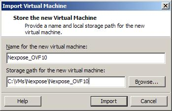 The Import Virtual Machine window