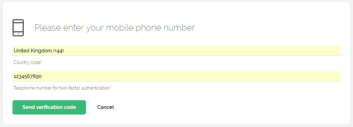 Setting up a phone number for Two Factor Authentication