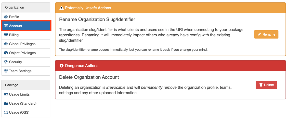 Organization Account Settings