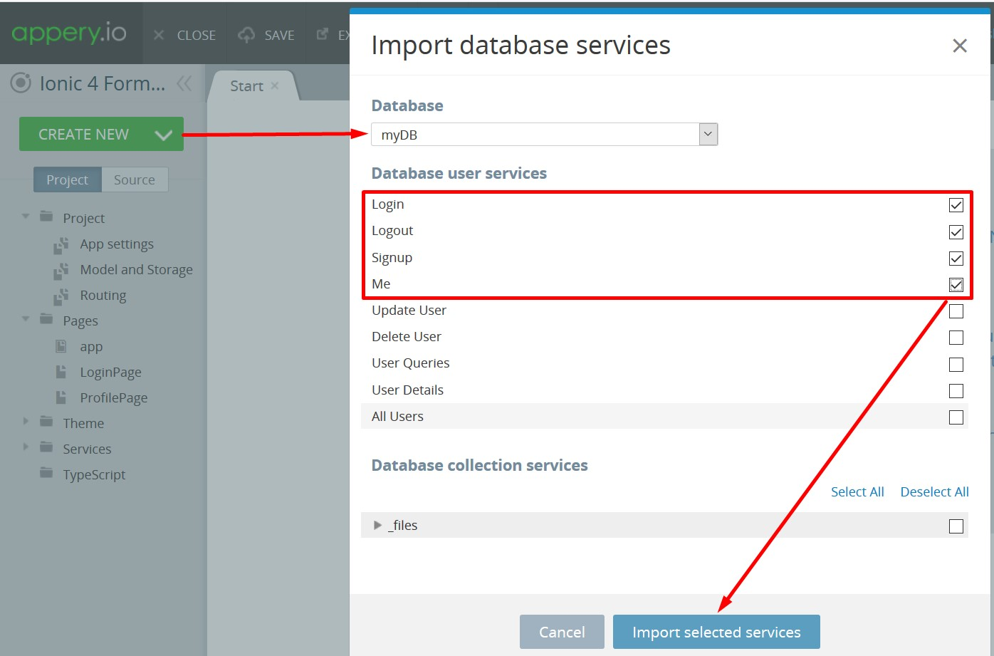 Importing DB Services
