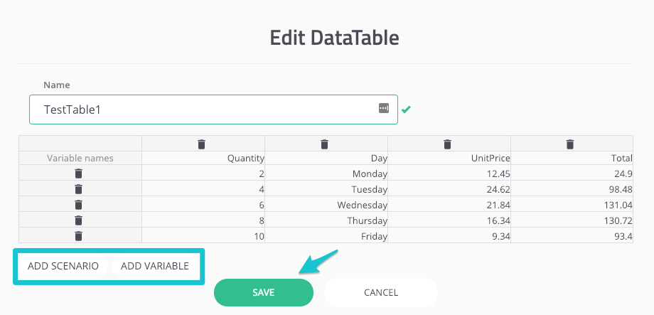Creating DataTables for your tests
