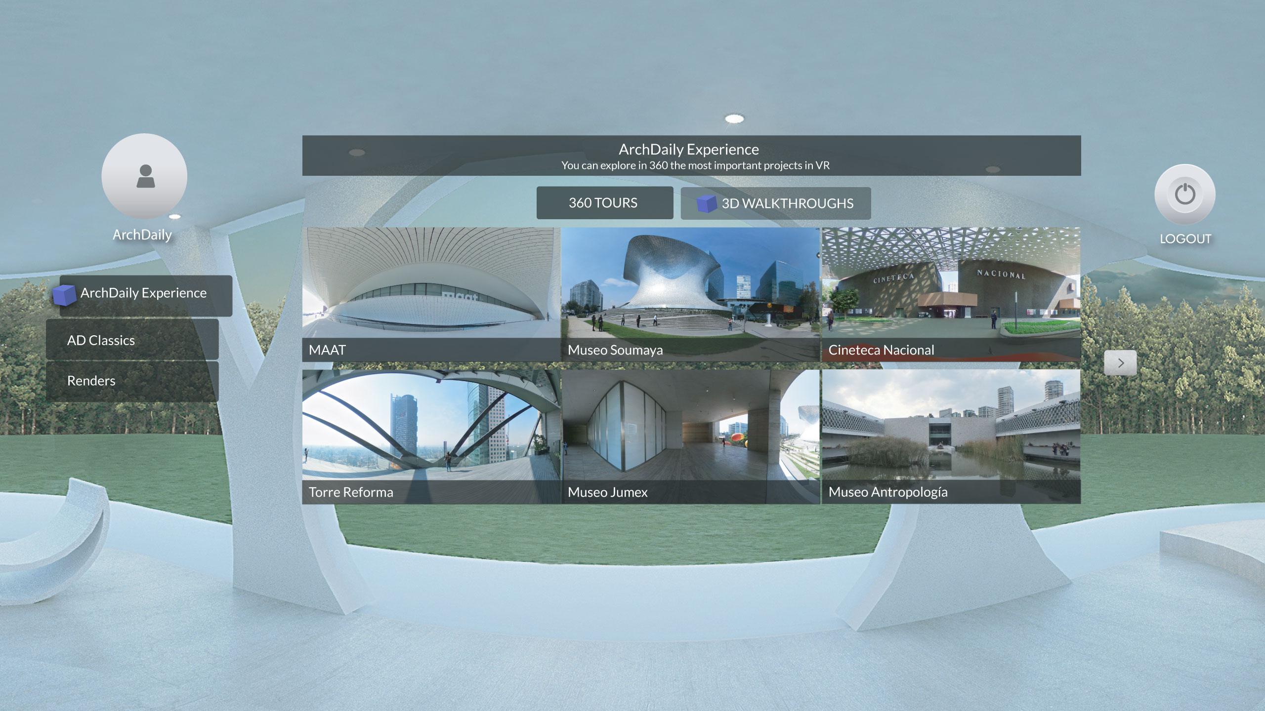 Menu para seleccionar proyectos, tours 360 y recorridos en 3D cargados
