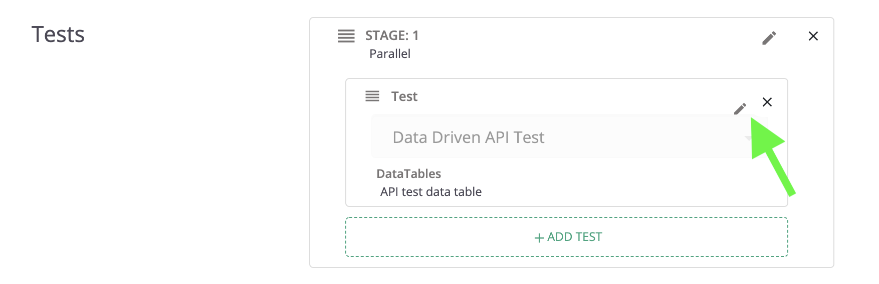 Editing a test's DataTable settings