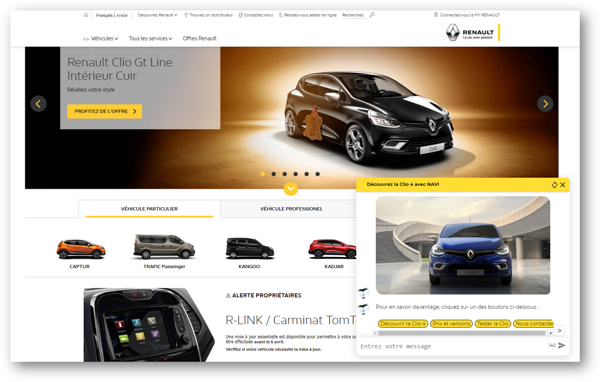 Smartly.AI's webchat in a car manufacturer website