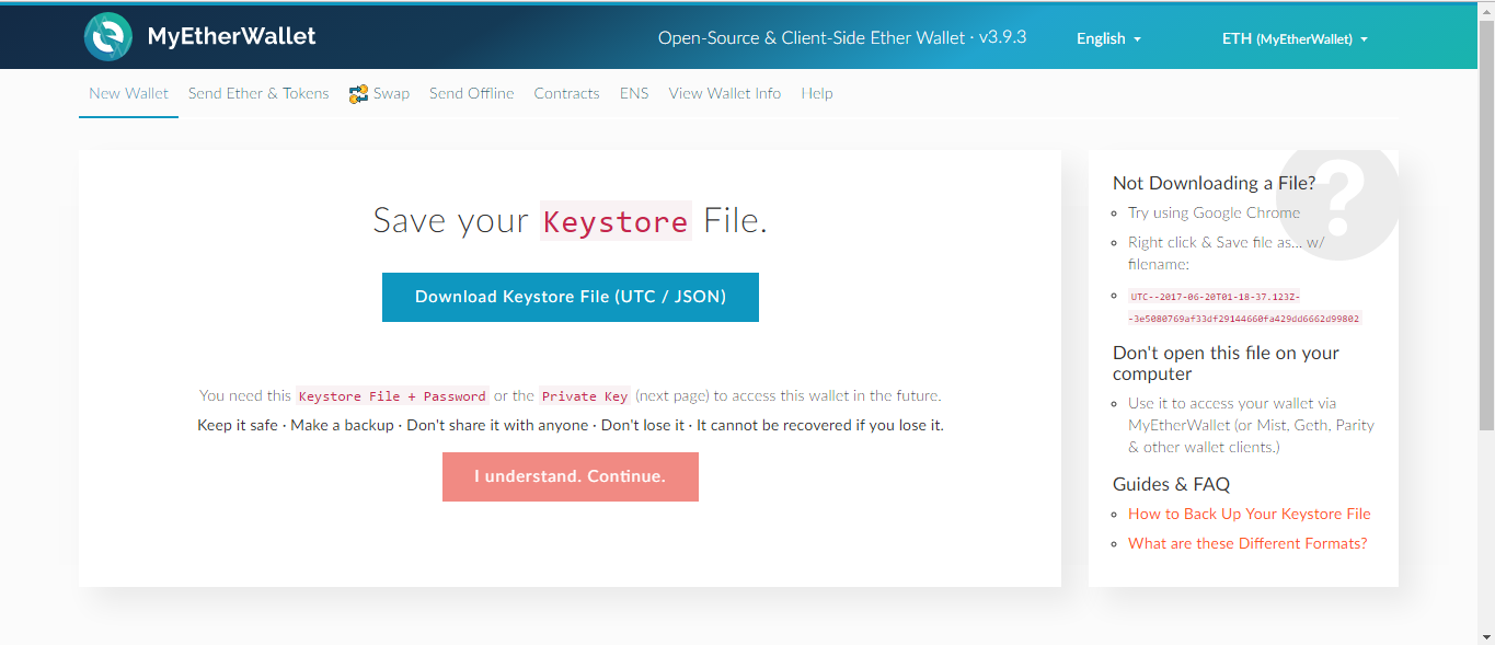 *Figure 3.9. Download the Keystore file.*