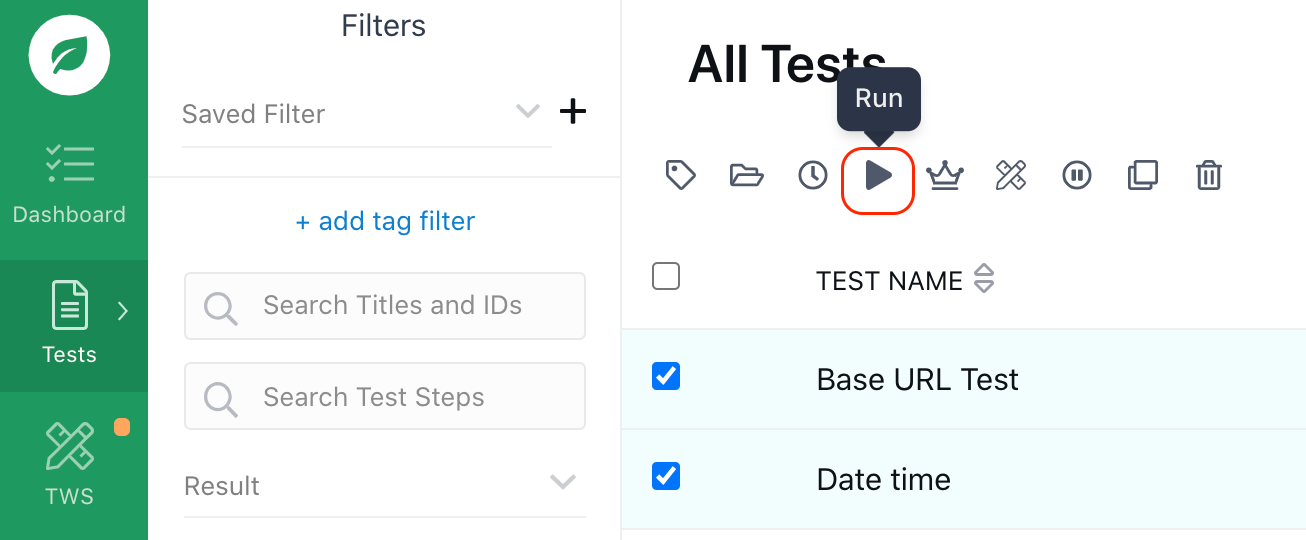Selecting the tests to run.