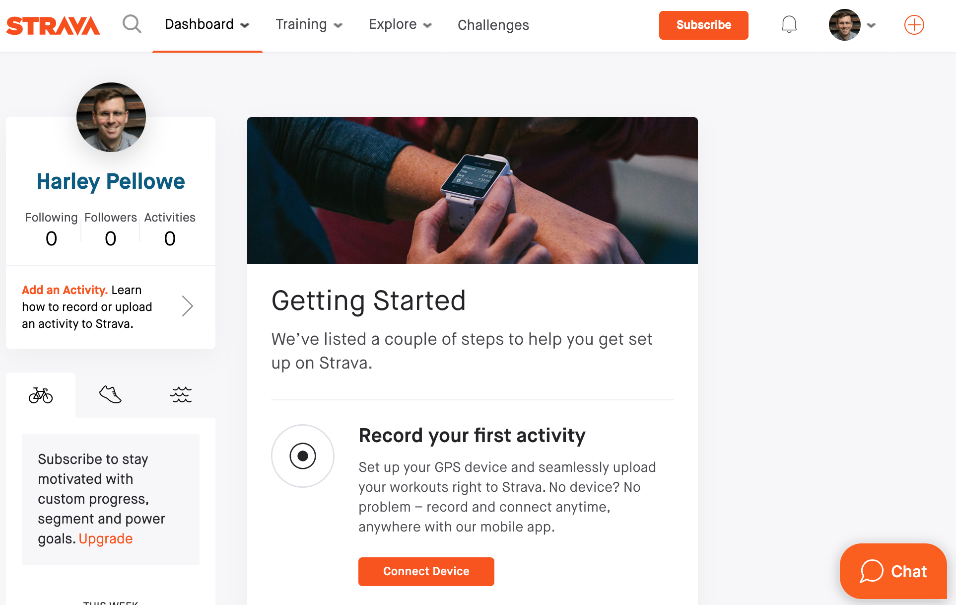 What the demo looks like in Strava. Note the Chat button.