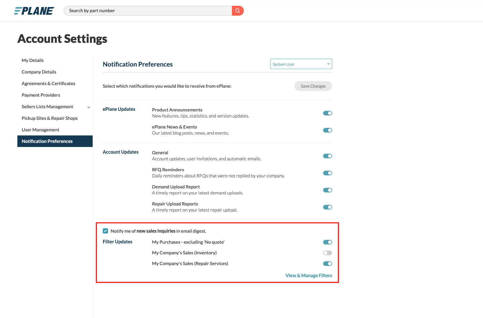 Within ePlane's settings, you can turn off email RFQ notifications if you would like to prevent duplicate notifications.