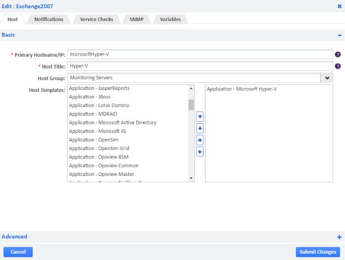 Example of Microsoft Hyper-V Host Template