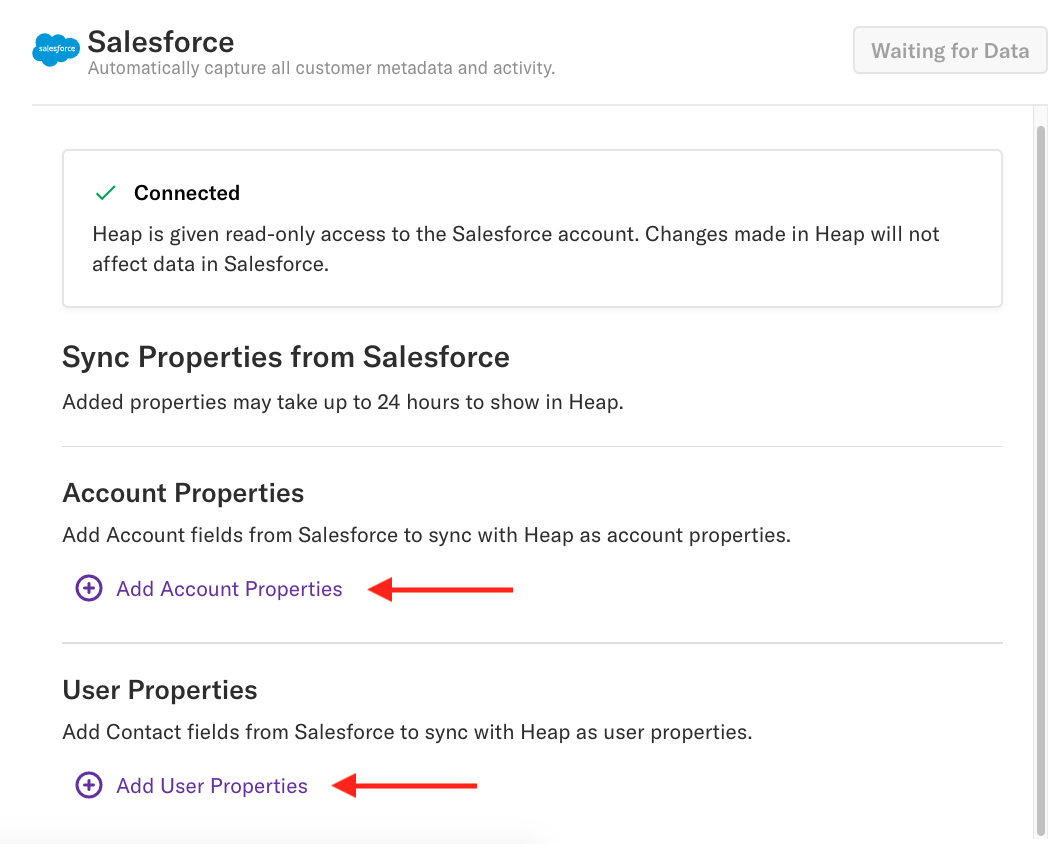 The Salesforce Source page with arrows pointing to the Add Account Properties and Add User Properties sections
