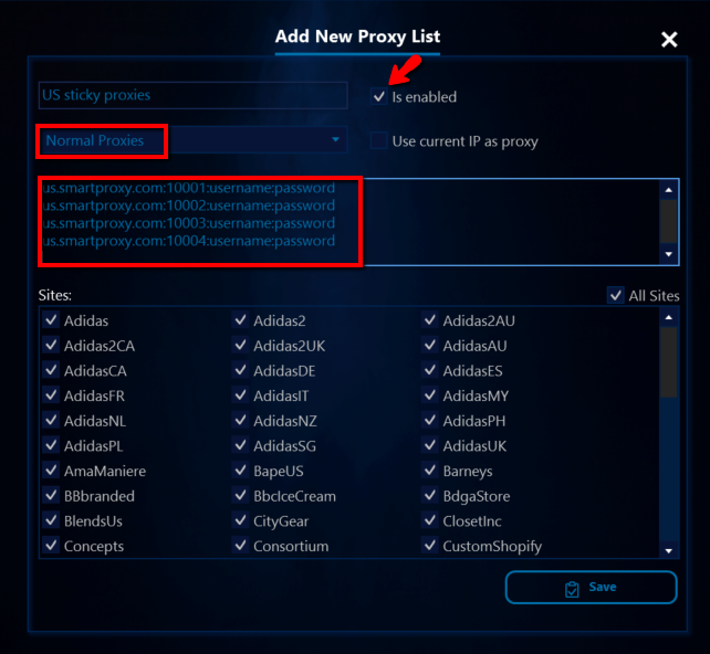 AIO Bot proxy list with username:password authentication