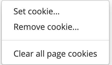 Options - managing cookies
