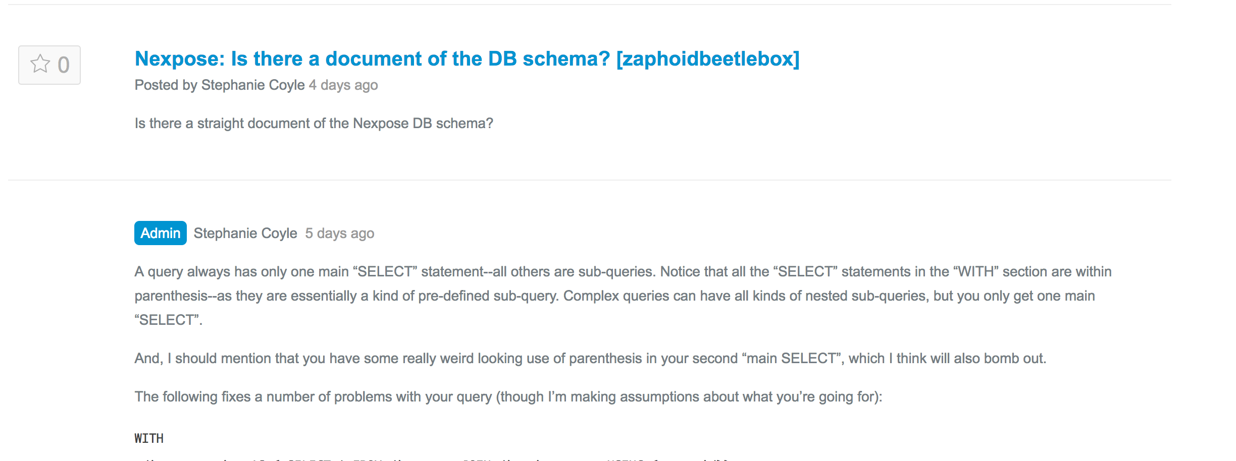Nexpose Is There A Document Of The Db Schema Zaphoidbeetlebox