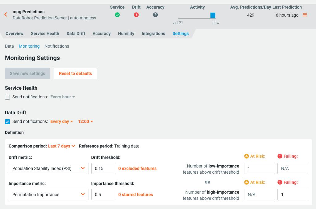 Data Drift monitoring settings