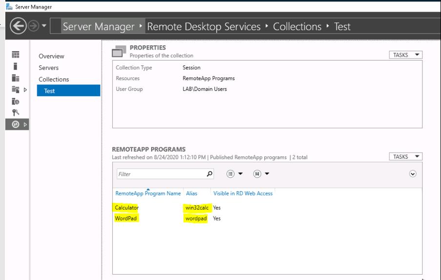 Example of Remote App Programs in Windows Server
