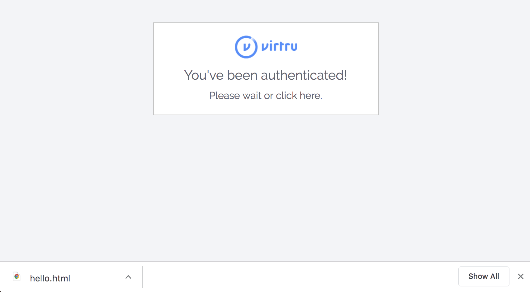 UI after successfully authenticating with the Auth Widget
