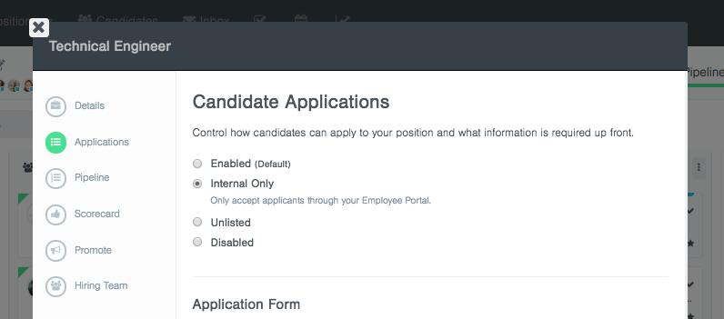 applying for internal position