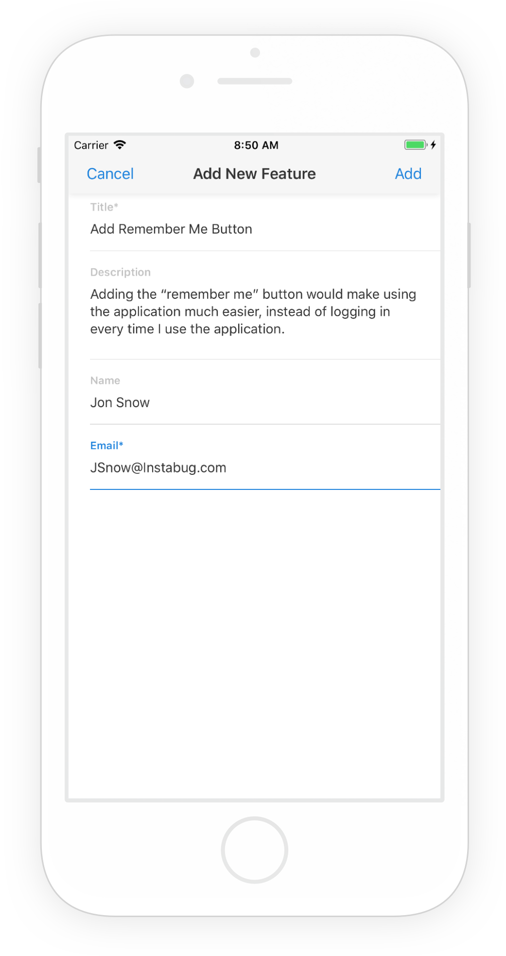 This is what the in-app feature request submission form looks like.